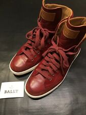 BALLY SWITZERLAND RED HIGH TOPS SIZE 9.5 US 10 SNEAKERS SHOES AUTHENTIC