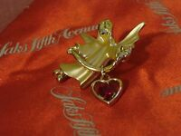 GIGIO GIUSTI glossy & satin gold plated ANGEL pin w/ faceted garnet HEART charm