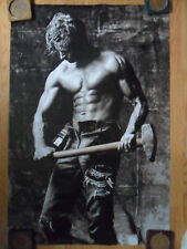 Sexy Guy Dorm Poster ~ Black and White Sledgehammer Hunk with Six-Pack Abs