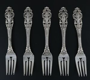 "Gorham Crown Baroque Salad Forks Sterling Silver 6 7/8"" 1975 Set of 10"