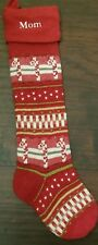 "New Pottery Barn Monogram ''Mom"" Red Fair Isle Knit Candy Cane Stocking"