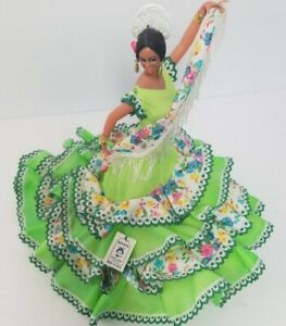 "Vtg Marin Chiclana Spanish Doll Flamenco Dancer Araceli Montilla green dress 12"""