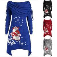 Women's Christmas Santa Claus Mini Dress Xmas Casual Pullover Long Tunic Tops