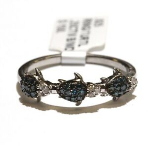 New 925 sterling silver .25ct SI2 H Blue White diamond turtle ring 2.4g 9.25