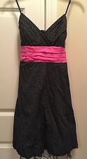 Black And White Polka Dot With Pink Ribbon Dress Size 7, NWT!