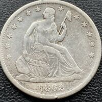 1862 S Seated Liberty Half Dollar 50c Higher Grade XF Details #22187