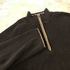 Indigo Palms Sz S Black Quarter Zip Long Sleeve Men's Sweater