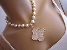 STRASS Collier Damen Hals Kette Modekette kurz Perlen Weiss Gold Blume Clover