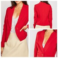 K Y CREATION Ladies Red Jacket Size 14/16 T5 Pockets Lined Smart Blazer NEW NWT