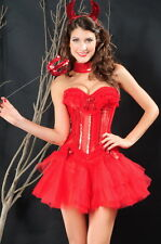 Devil Burlesque Red Sequin Corset Bustier Tutu Choker Valentines Medium 5250
