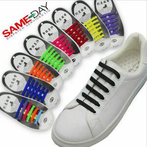 Silicone No Tie Elastic Shoe Laces Rubber Shoelaces Trainers Shoes Kids & Adult