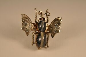 BROCHE ANCIEN INSECTE PAPILLON ARGENT MASSIF ANTIQUE SOLID SILVER FLY BEE BROOCH