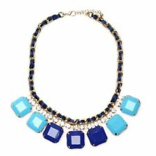 NEW Mixed Media Glam Square Blue Resin Statement Necklace with Navy Blue Ribbon