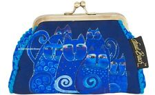 Laurel Burch Indigo Cats Coin Purse 5.5x4.75 Blues NEW Fall 2017