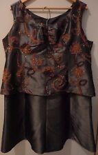 Women's 2 PC - Tank Top Shirt Blouse & A-Line Skirt Party Dress Color Grey Sz 18