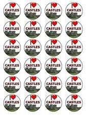 "I Love Castles Medieval Fortress Cupcake Topper On Rice Paper 1.5"" 24 Per Set"
