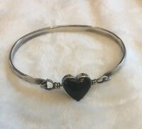 Estate Vintage 925 Sterling Silver Hook Bangle With Beautiful Heart Black Onyx