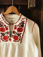 Lucky Brand Embroidered Light Blouse Top Tunic Medium