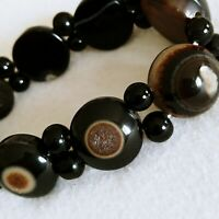 Evil Eye Stretch Bracelet Polished Lg Agate & Blk Glass Unique Wicca Stone Brown