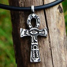 Egypt Egyptian Cross Ankh Key of life 2 sided Pagan Pewter Pendant w Black Cord
