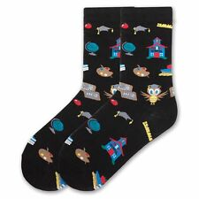 K.Bell Black Socks Teachers School Wise Owl Cotton Blend Ladies Crew Socks New