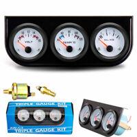 2'' 52mm Car Triple Gauge Kit 3in1 Voltage Meter Water Temp Oil Pressure Gauge