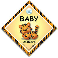 Tiger Baby On Board Car Sign, Baby Tiger On Board Sign, Suction Cup Car Sign