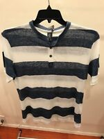 ELEVENTY DENIM BLUE AND WHITE STIPES T-SHIRT SIZE MEDIUM (M) UNWORN NEW WITH TAG