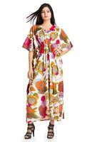 Indian Cotton Floral Printed Beach Wear Casual Maxi Dress Kaftan Boho Plus Size