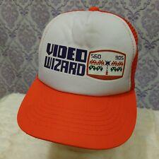 Vintage Mesh Trucker Cap Video Wizard 80s Youth Size White Orange Korea