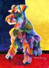 Schnauzer 3 Original 5x7 Acrylic Framed DOG Painting by Sherry