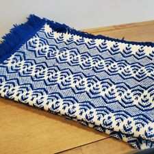 Blue and White Zig Zag Design Blanket