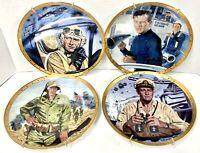 "John Wayne Military Collector Plates Set Of 4 Franklin Mint 8"" RARE Marines Navy"