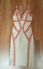 Herve Leger Niyaz Tri Color Dress XS FLAWED PLEASE REFER TO PHOTOS $1590 Retail