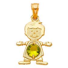 14k Yellow Gold Peridot August Birthstone Boy Kid SMALL Charm Pendant Free Chain