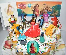 Disney Elena of Avalor Cake Toppers Set of 14 Deluxe Figures,  Gem Ring, Tattoo