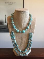 "Vintage Sterling Silver Turquoise Bead Necklace Lot - 2 Necklaces 16"" & 24"" 925"