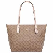 New Authentic Coach F39523 City Zip Tote Handbag Purse Signature Khaki Rose Gold