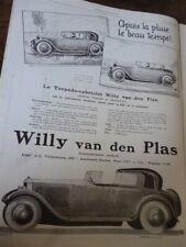 WILLY VAN DEN PLAS voiture publicité papier ILLUSTRATION 1925