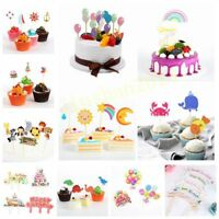 Happy Birthday Party Animal Balloon Inserted Card Cake Decoration Cupcake Topper