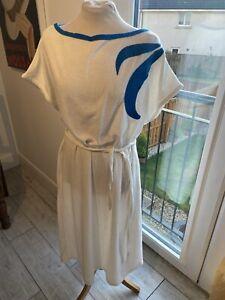 VINTAGE 80's WHITE & BLUE TOWELLING NEW WAVE BELTED TEA DRESS UK 16/18 LARGE