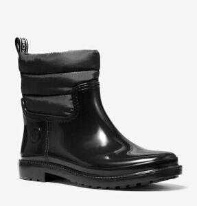 Michael Kors BLAKELY MK Logo Black Rain Bootie Ankle Boots Shoes Flats 7 NIB