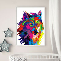 Nordic Colorful Wolf Head Print Canvas Oil Painting Home Wall Art Decor Unframed