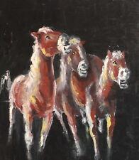 Vintage oil painting horses portrait