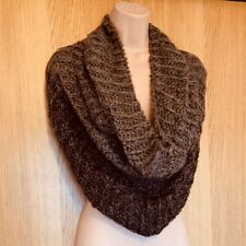 Scarf Ladies Mens Cowl Beige Brown Ombre Knitted Chunky Tube Snood Loop Infinity