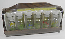 VINTAGE WOODEN SPICE RACK W/6 JARS SPICE STICKER SHEET GRAPHICS JAPAN SEALED!
