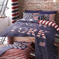 USA New York Stars & Stripes Duvet / Quilt Cover Bedding Linen