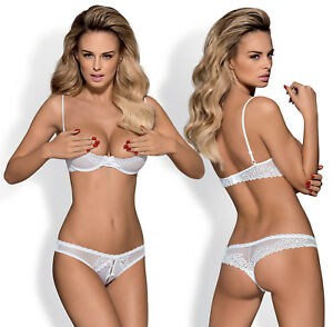 OBSESSIVE Alabastra Underwired Quarter Cup Bra and Matching Crotchless Thong Set