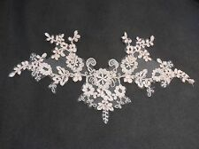 Baby pink bridal wedding floral lace applique / pink tulle lace motif .by piece