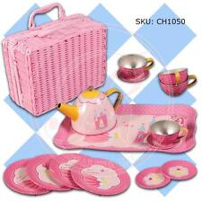 Rosalina Collections PINK TIN TEA SET IN BASKET STORAGE CASE 15 PIECES AGES 3+